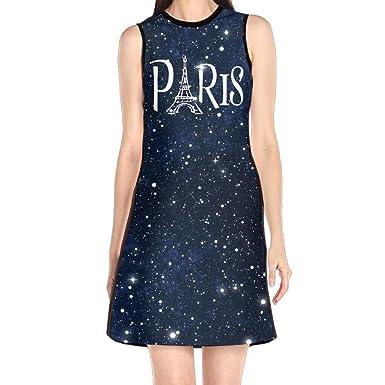 Womens Sleeveless Dresses Paris Eiffel Tower Round Neck Midi Dress