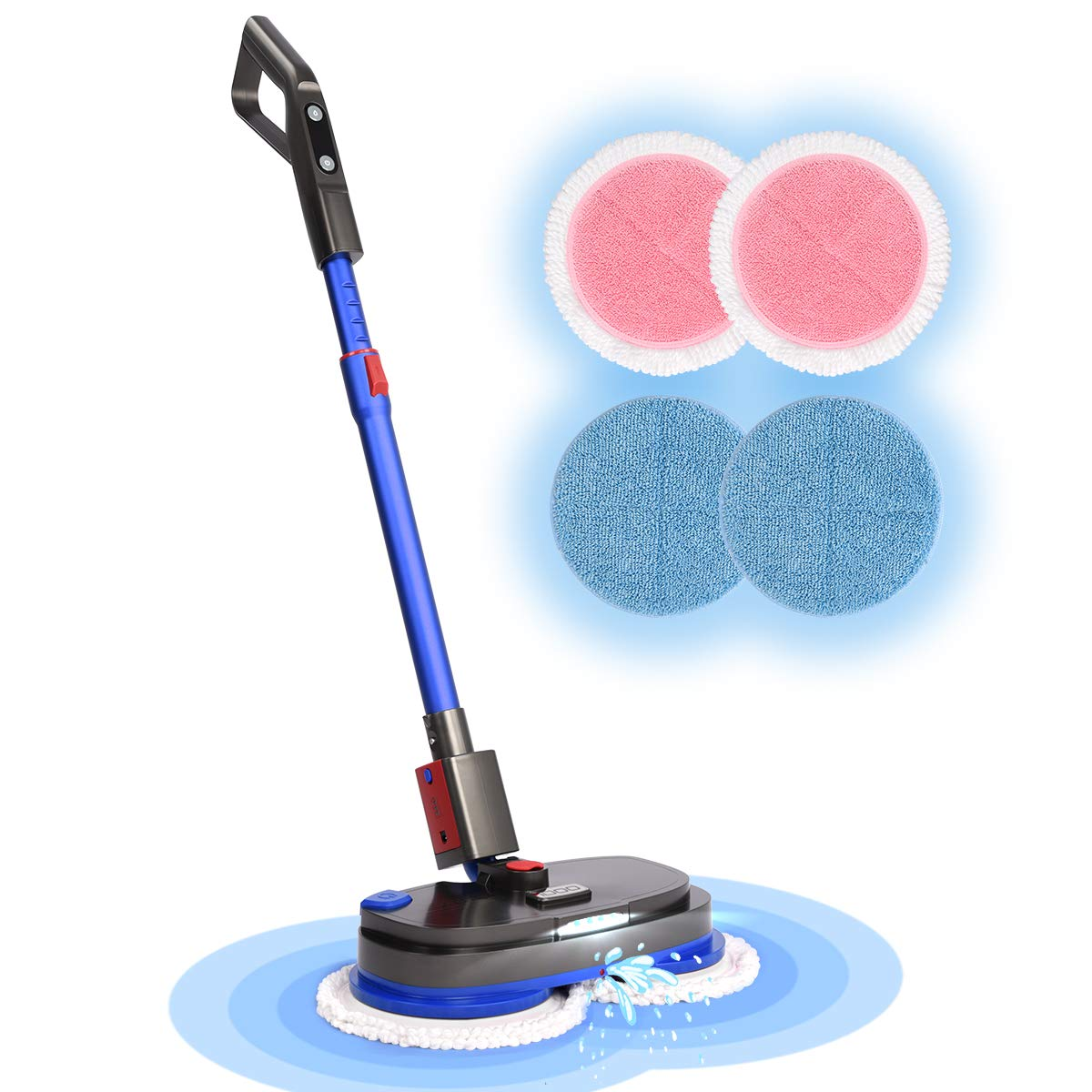 Electric Mop, iDOO Cordless Electric Spinner and Waxer, Powerful Floor Cleaner with Dual Spin, Sweeper and Scrubber with LED Headlight for Hard Wood, Marble, Tile and Laminate Floor, Super Quiet