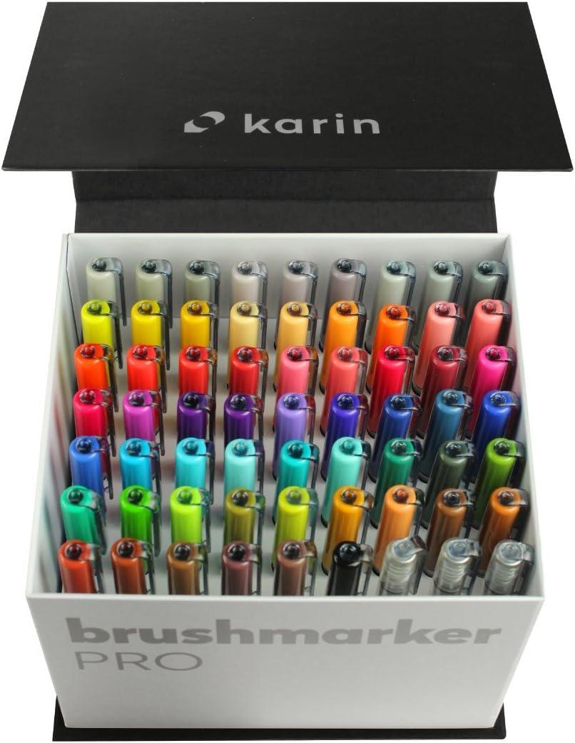Karin HQ0003Mega Caja Brush Marcador Pro brushpens a base de agua Adecuado para pintar, dibujar y mano Lettering Multicolor
