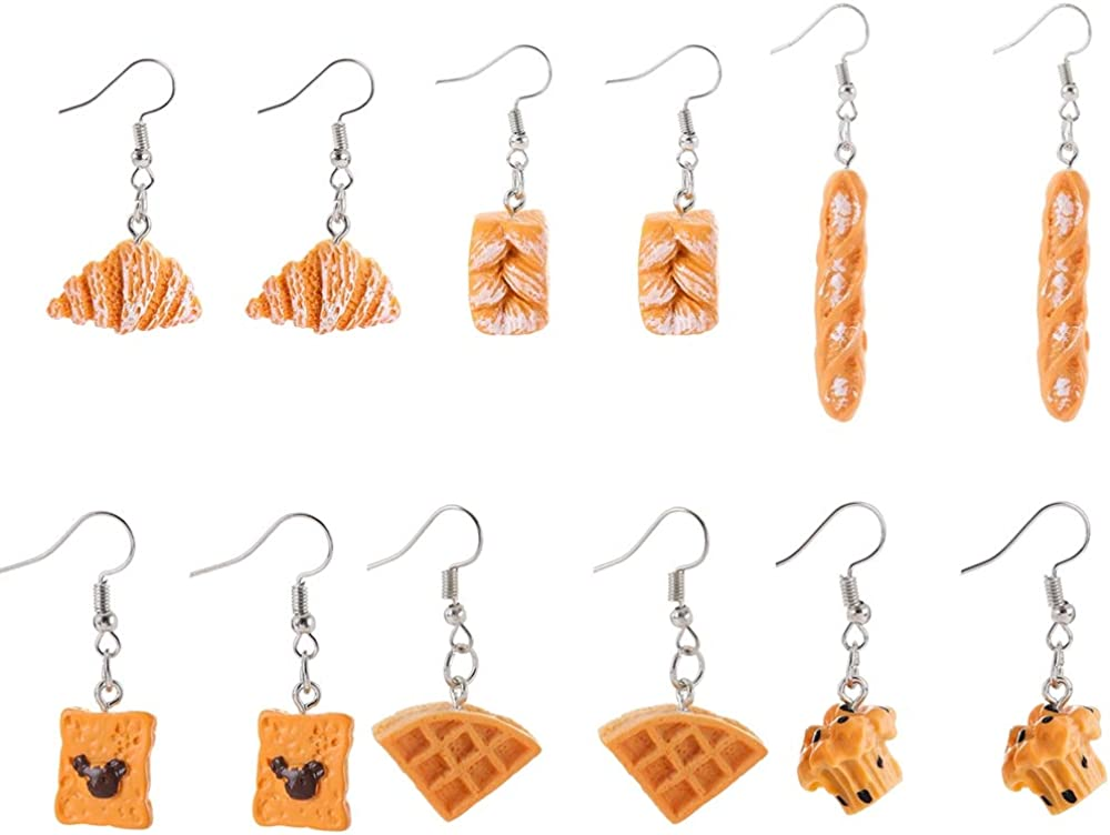 6 Pairs Handmade Simulation food Adorrable Earrings Croissant French Bread Waffles Bear Biscuit Toast Dangle Drop Earrings Cute Unique Baguette Earrings Set Jewelry for Women Girls