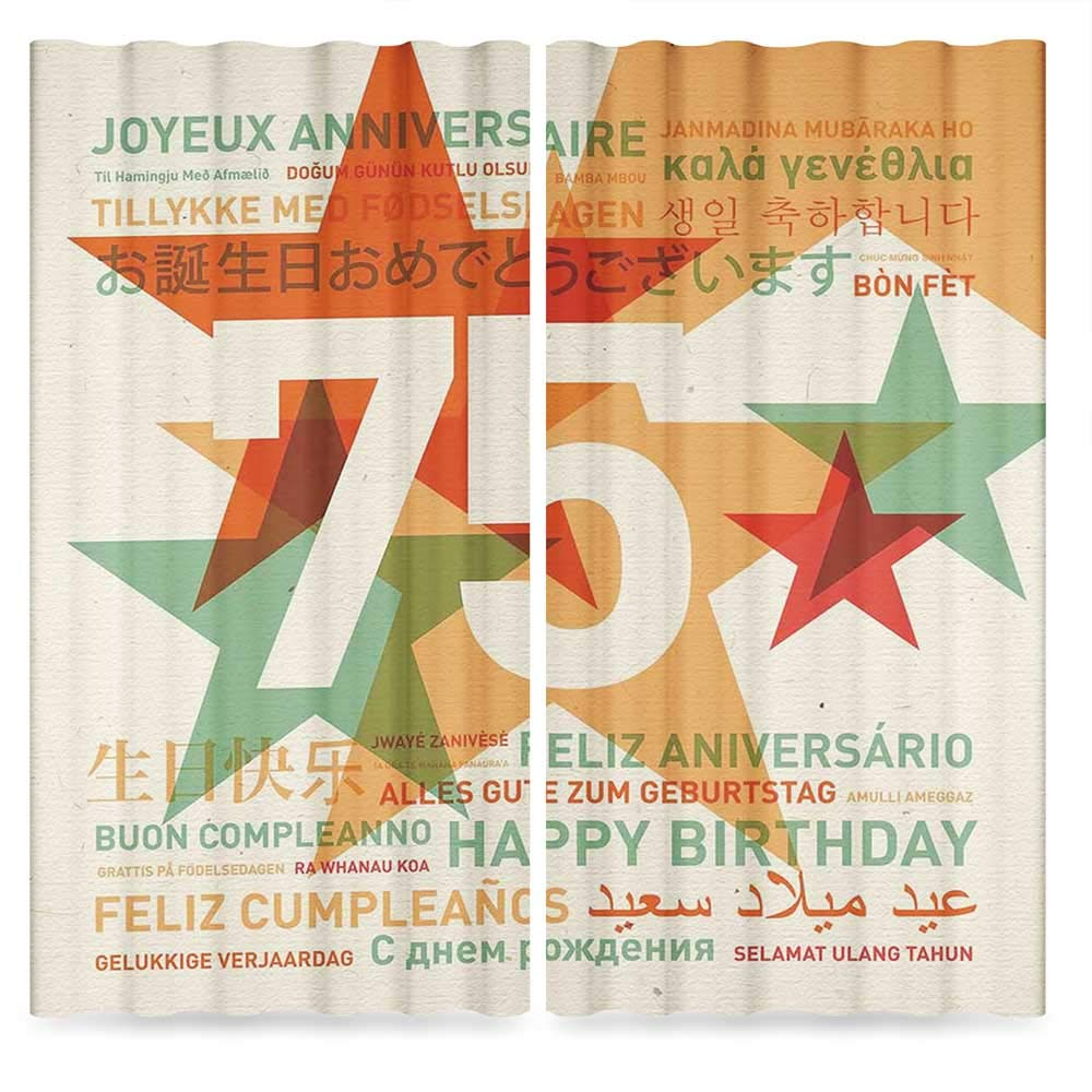 75th Birthday Decorations Blackout Window Curtain,Worldwide Greetings in Different Languages Stars Retro Background,Living Room Bedroom Décor, 2 Panel Set, 28W X 39L Inches