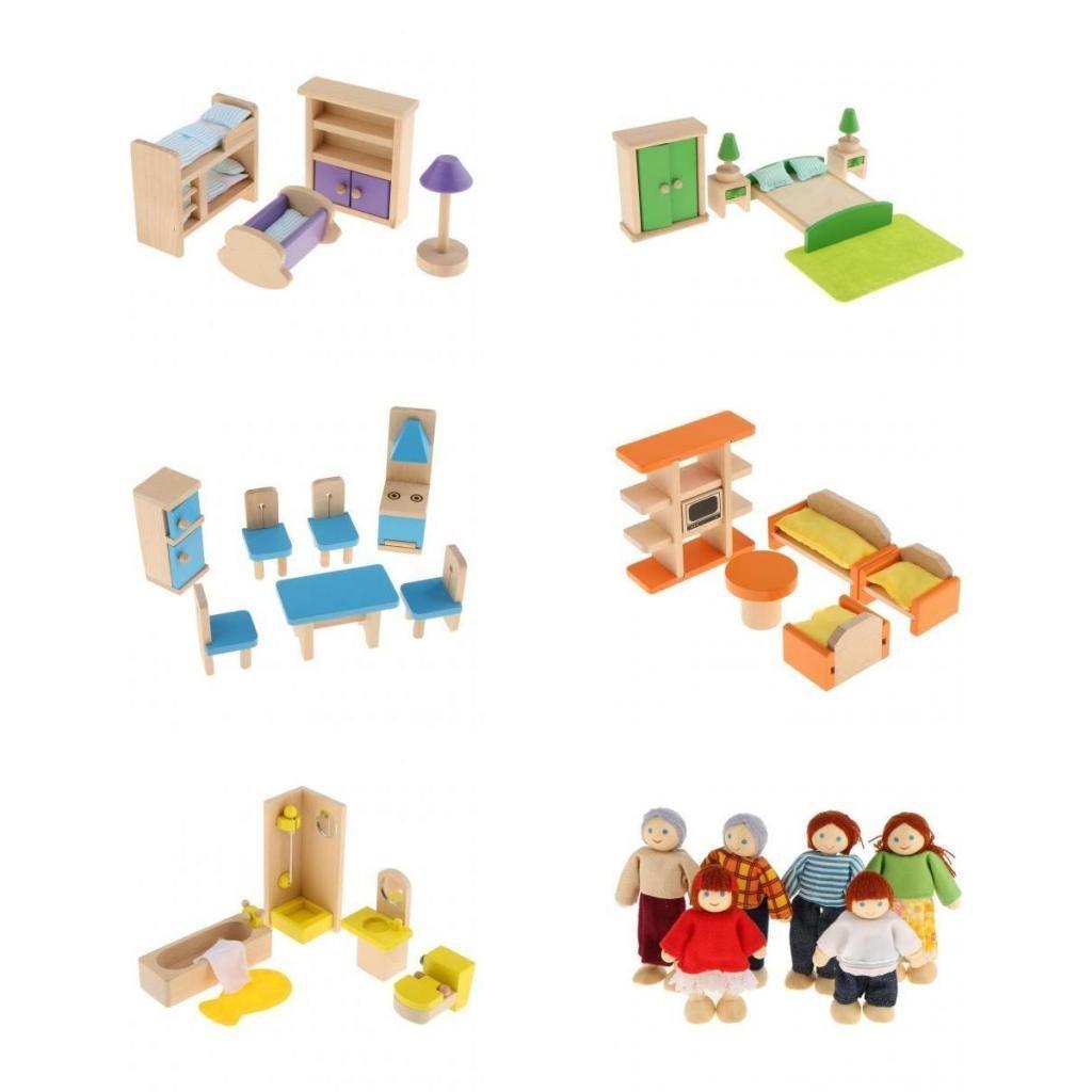 Kinderzimmer Bad M/öbel Set Kinder Rollenspiel Holzspielzeug Bad MagiDeal Puppenhaus Schlafzimmer Wohnzimmer K/üche