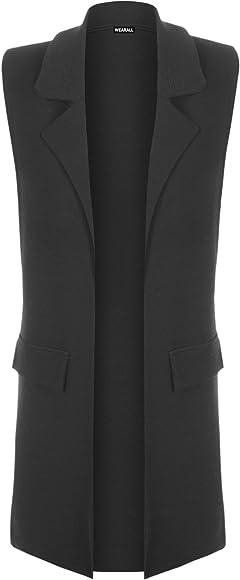 Womens Ladies New Sleeveless Long Maxi Waist Coat Crepe Fabric Size 8-14