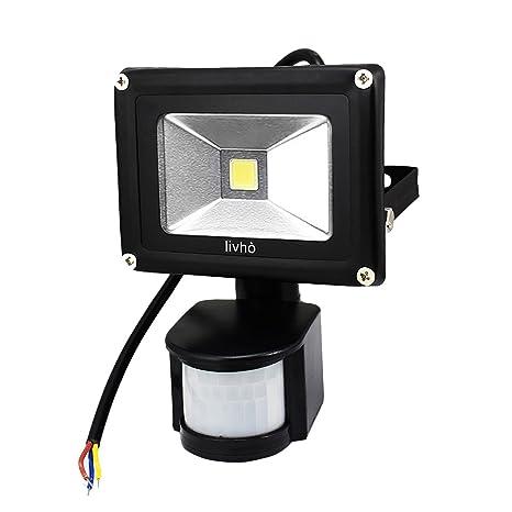 LIVHÒ -Foco LED 20 W, luz blanca con detector de movimiento para exterior,