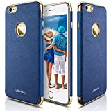 iPhone 6s Case, iPhone 6 Case, LOHASIC [Premium Leather] Luxury Textured Back Cover Electroplate Frame [Slim Body] Flexible Soft Shockproof Cases for Apple iPhone 6s & iPhone 6 - [Ink Blue]
