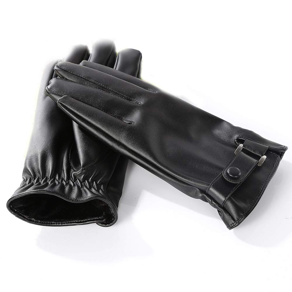 CHAI USA Mens Outdoor Gloves Non-Slip Riding Waterproof Leather Touch Screen Warm Windproof Gloves