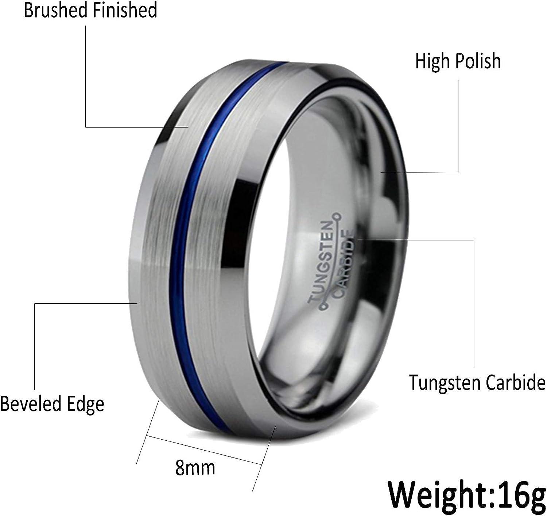 Titanium Grooved Beveled Edge 8mm Brushed and Polished Band Size 13.5 Length Width 8