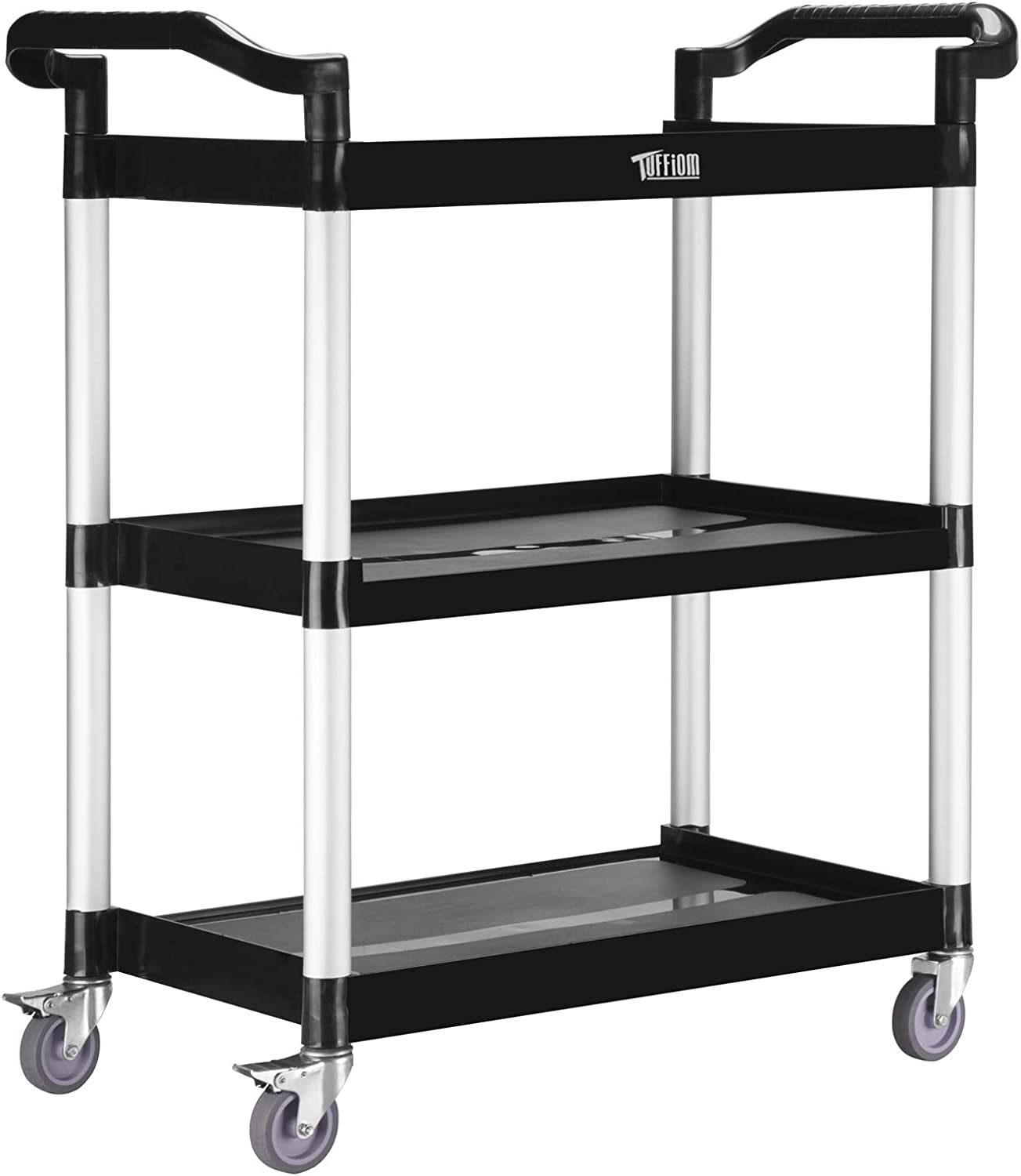 TUFFIOM 3-Tier Plastic Utility Cart, Heavy Duty 390lbs Capacity, Commercial Rolling Service Cart, Ideal for Restaurant, Foodservice, Office, Warehouse, Black (M - 33.8''L x 16.5''W x 35.8''H)