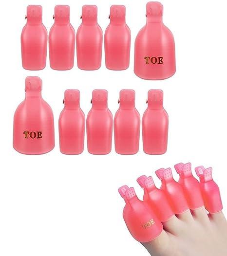 10 pcs uñas Soak Off Cap Clip UV Gel Polish Remover Extractor de uñas Clips Plástico