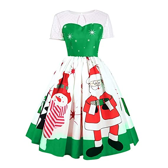 Amazon.com  Christmas Series Dress-Fashion Women Vintage Santa Claus ... 76cb0e8339af