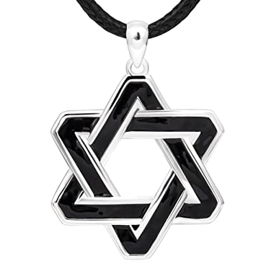 925 Sterling Silver Charm Oxidation Men's Star of David Pendant Necklace for Father Husband PWw9s8hFtt