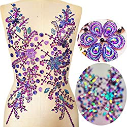 12×21 Inch Purple Hand Made Beaded Sequins Crystals Rhinestones Patch