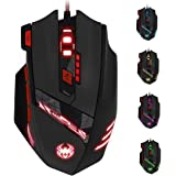 Zelotes T90 Professional 9200 DPI High Precision USB Wired Gaming Mouse,8 Buttons,With 7 kinds modes of LED Colorful…