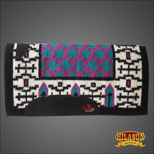 (HILASON Western New Zealand Wool Horse Saddle Blanket White Black Pink)