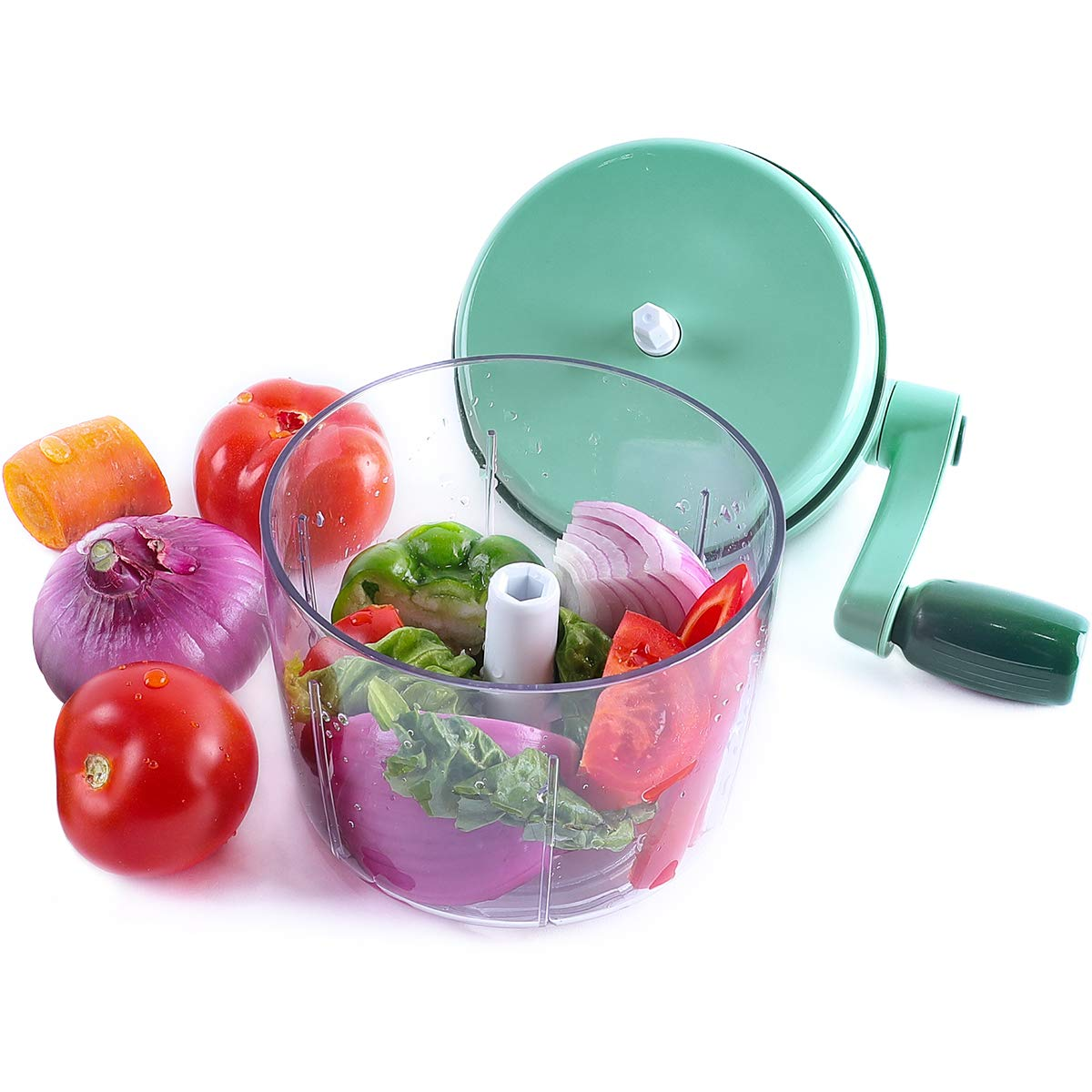 Two blade rotation speeds Handle Food Chopper Hand Powered Meat Veggie Fruit Salad Maker (Green)