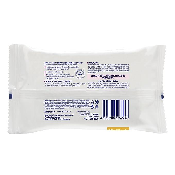 Nivea - Toallitas desmaquilladoras suaves, piel seca y sensible, 40 unidades: Amazon.es: Belleza
