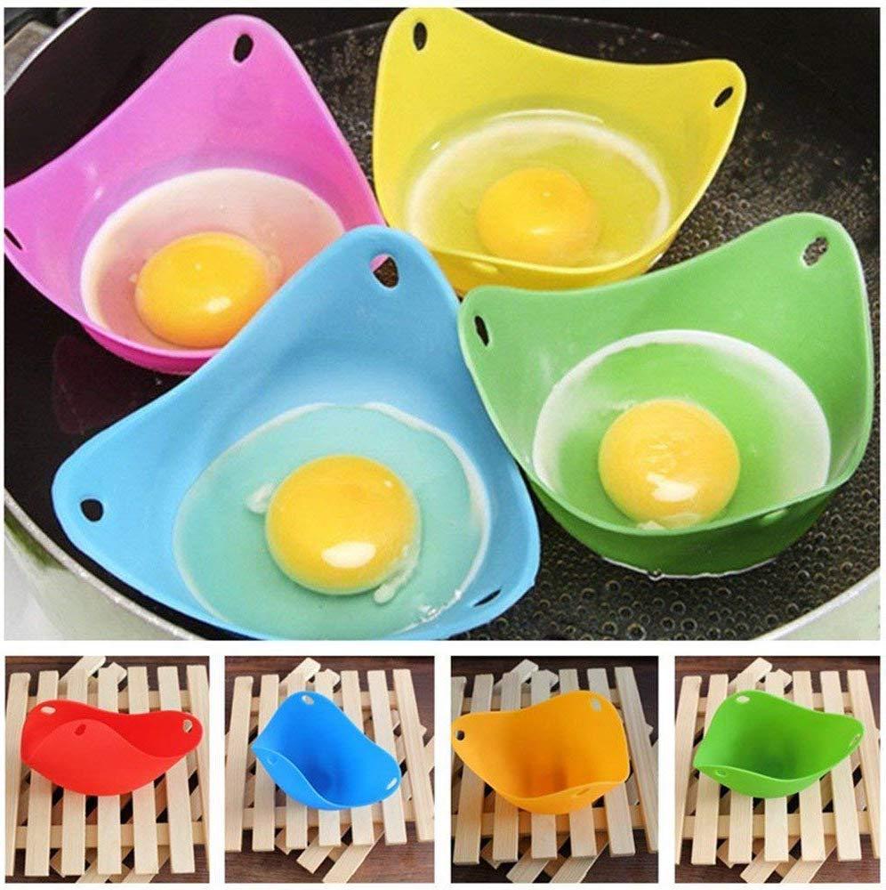 Favson - Juego de 6 hueveras de silicona para cocinar huevos escalfados, para microondas o cocina de huevos (color al azar): Amazon.es: Hogar