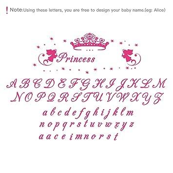 decalmile Adhesivos de Pared Nombre Personalizado de la Niña y Princesa  Corona Vinilos Decorativos Habitacion Niña 7f86e9cd873a