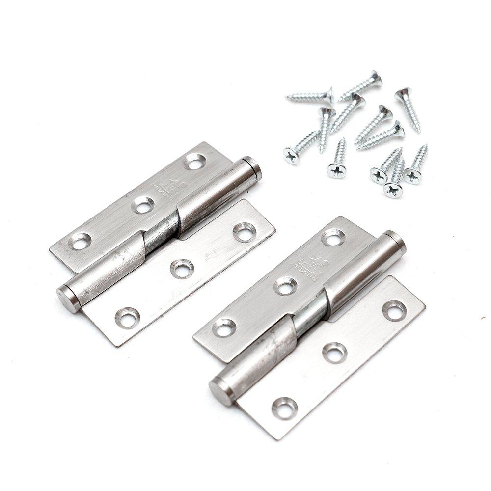 2Pcs 3//76mm Paumelle de Porte Charni/ère de Porte Acier Inoxydable Avec vis en acier inox Roulement /à billes DIN droite