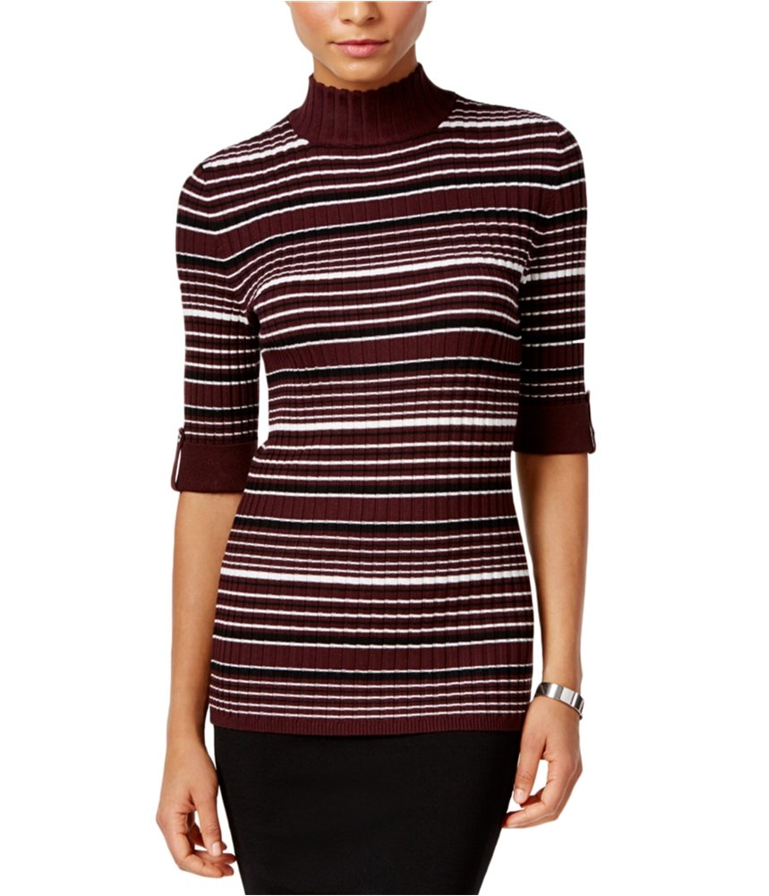 Style & Co. Womens Ribbed Knit Striped Turtleneck Sweater Purple PL