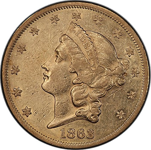 1863 Double Eagle No Motto From Saddle Ridge Hoard Population of 1 in SRH $20 PCGS N98