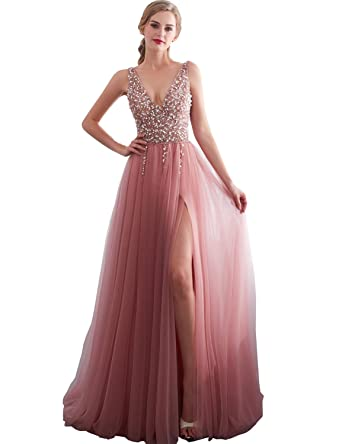 8e41d1806ea Belle House Tulle V Neck Prom Dresses 2018 Long Beaded Sexy Evening Party Ball  Gown for Women at Amazon Women s Clothing store