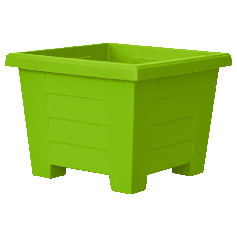 ALMI Cnaan Mini Square Plastic Planter – 5.9 Inch Cube Pot For Garden, Elegant Shaped Flower Tree Pot, Planter For Plants, Small Trees, Plant Pot, UV Resistant Paint, Indoor & Outdoor, Light Green