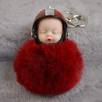 Baby Sleeping Doll  Keychain Pendant Cute Chain Plush Keyring New Car Fur Faux