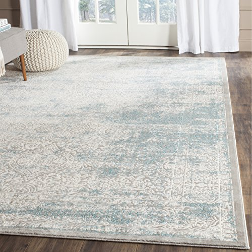 (Safavieh Passion Collection PAS401B Vintage Medallion Watercolor Turquoise and Ivory Distressed Area Rug 10' x 14')
