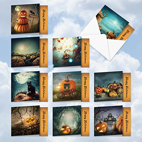 MQ4962HWG-B1x10 Spooky Pumpkins: 10 Assorted Set of 'Square-Top' Cards Featuring Spooky Images of Jack-O-Lanterns, with Envelopes (1 each of 10 Designs, Size: 4