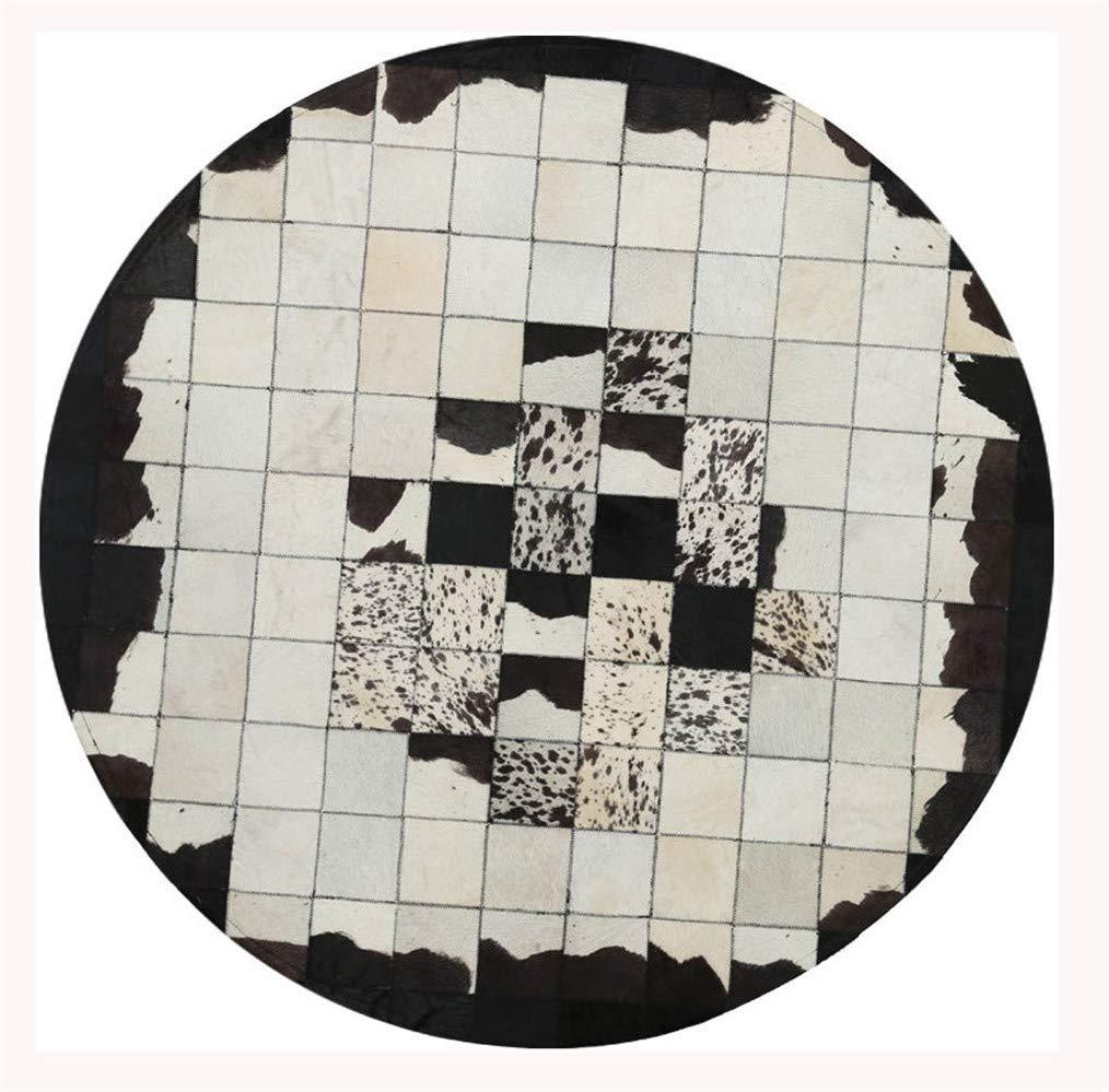 ウエスタンブラックラウンドウールファーエリアラグ、パッチワーク100%牛革カーペット、幾何学的格子モザイクコレクションカーペット、手縫いのレザー滑り止めマット、家の床の装飾,Round1m/3'3 Round1m/3'3  B07QC6CY2D