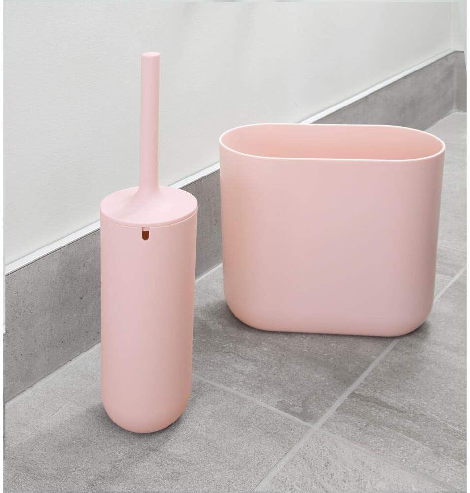 schmale WC Garnitur aus Kunststoff freistehender Toilettenb/ürstenhalter und Klob/ürste mit Silikonborsten iDesign Toilettenb/ürste mit Halter blau
