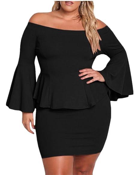 e172fb082f3 Jeanewpole1 Women Off The Shoulder Peplum Dresses Plus Size Bell Sleeve  Sexy Party Short Dresses Black