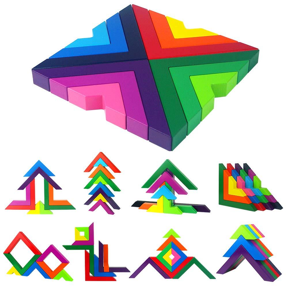 Mypre 木製レインボーブロック おもちゃ 積み重ねスタッカー 子供用 幼児 赤ちゃんビルディング 就学前学習 教育玩具 幾何学 クリエイティブなネスティングカラー ソーター 認識パズル   B07HK4PDTM