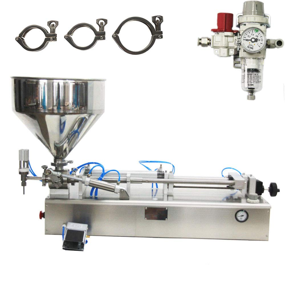 Pneumatic Filling Machine 50-500ml Semi-auto Pneumatic Liquid Filling with 40L Hopper Liquid Filling Machine for Liquid and Paste Filling (10-100ml)