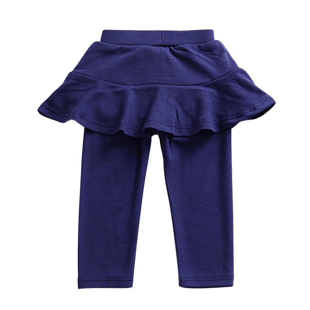 Bokze Dark Blue Stretch Fake 2 Piece Pants Tutu Leggings Trousers