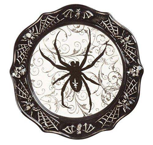 Haunted Halloween Black & White Halloween Icons Ceramic Dessert Appetizer Plate, 8.5-Inch (Spider)