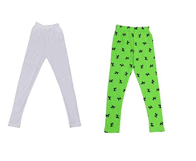 Pack of 2 Indistar 1 Solid and 1 Printed Ankle Length Legging For Girls