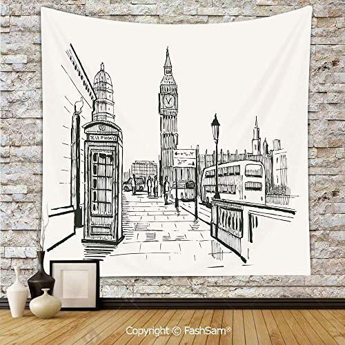 Tapestry Wall Blanket Wall Decor London City with Big Ben Monument Scene in Sketch Style British Famous Town Artwork Home Decorations for Bedroom(W51xL59) ()