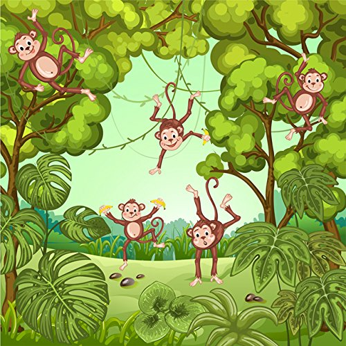 5x7ft Banana Monkeys Playing in The Jungle Safari Theme Background Portrait Cloth Computer Printed Party Backdrop ly-20187222