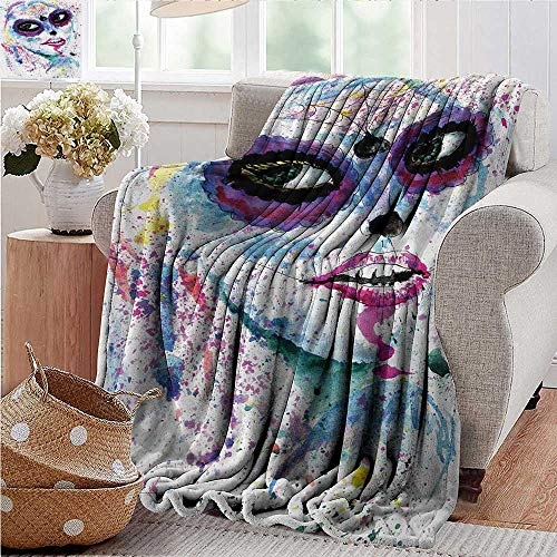 XavieraDoherty Custom Sofa Bed Throw Blanket,Girls,Grunge Halloween Lady with Sugar Skull Make Up Creepy Dead Face Gothic Woman Artsy,Blue Purple,300GSM,Super Soft and Warm,Durable Blanket 30