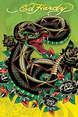 Ed Hardy Snake Tattoo Art Poster