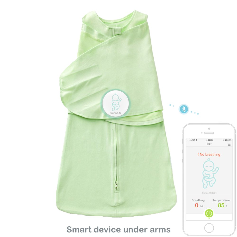 Sense-U SMART Sleeping Bag: A Baby Breathing Movement Monitor that Alerts You for No Breathing Movement, Stomach Sleeping, Overheating and Getting Cold (Small Sleepbag)