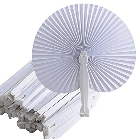 36 Stk. Fächer Hochzeit Faltbar Papierfächer Handgriff Fächer Weiß Deko Wedding Party Hand Fan Papier Handfächer Klappfächer