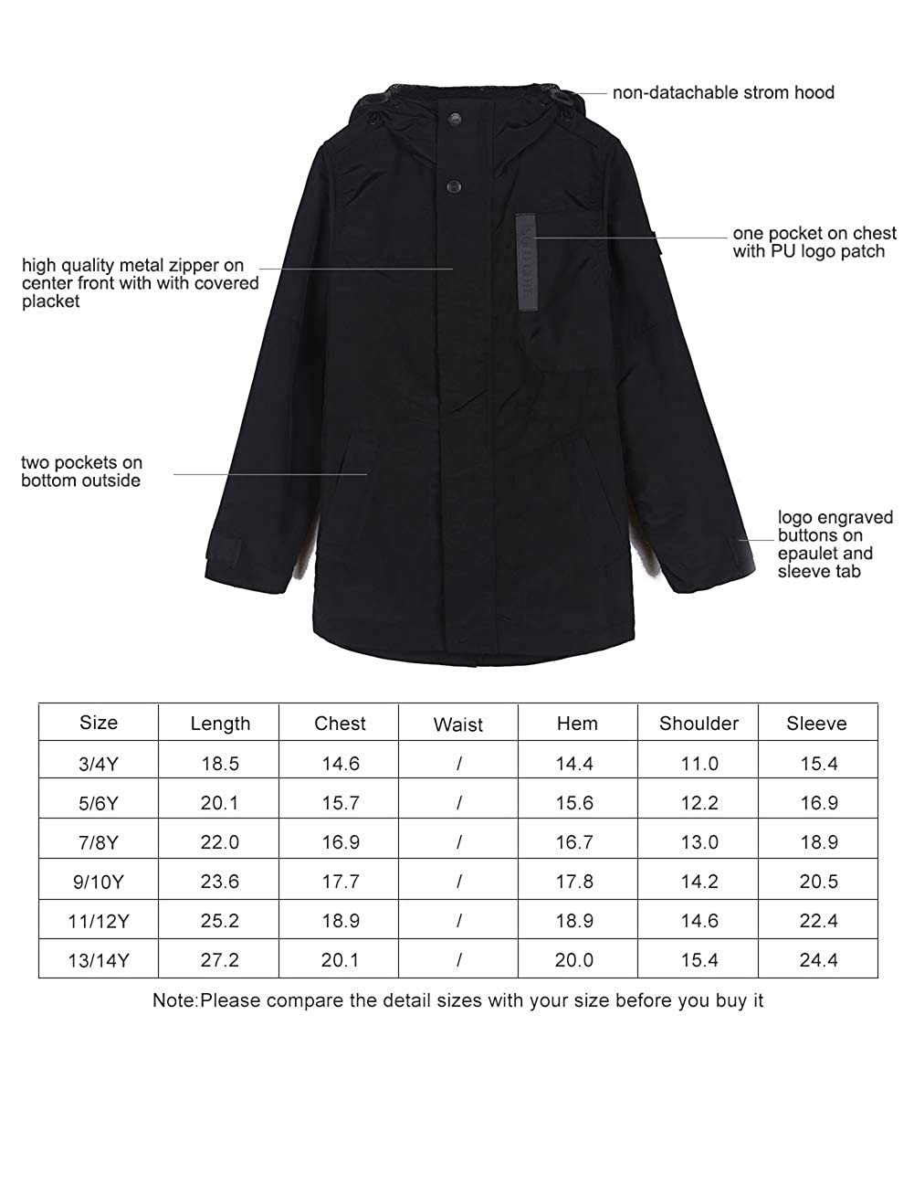 SOLOCOTE Boys Spring Light Jackets Waterproof with Cool Black 3-14Y