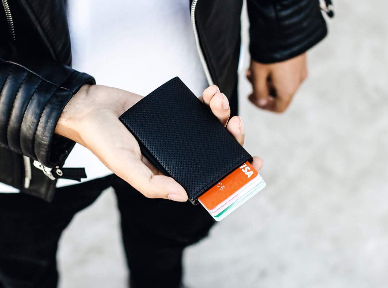 /Ögon Design Aluminium et Cuir White Protection RFID Portefeuille Cascade Slim