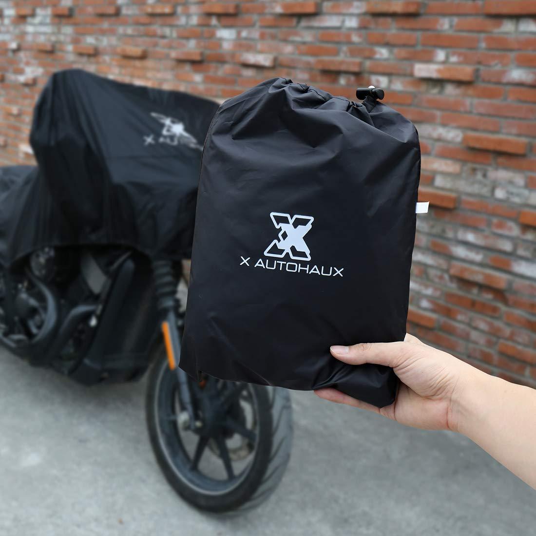 Motorradabdeckung sourcing map Motorrad Abdeckplane Halbe Abdeckung Draussen Wasserdicht Regen Staub UV Schutz Motorradgarage XL,schwarz