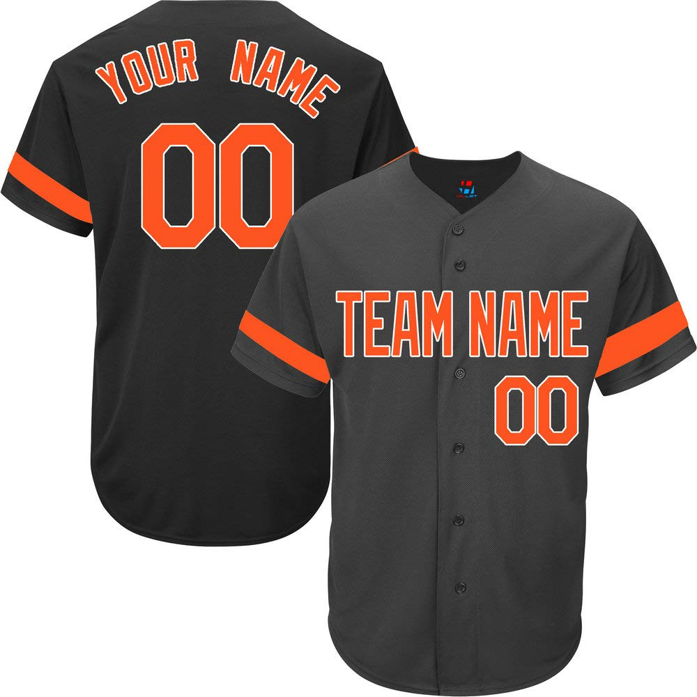 Black Custom Baseball Jersey for Men Full Button Mesh Big and Tall Personalized Name & Numbers,Orange Striped Size 6XL by Pullonsy