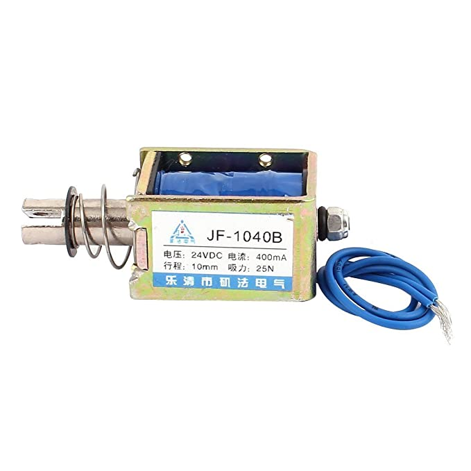 Amazon.com: eDealMax JF-1040B DC24V 400mA 10mm empuje 25N Tire electroimán del solenoide del imán: Home & Kitchen