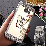 Galaxy J530 J5 2017 Case, Galaxy J5 2017 J530 EU Cover, JAWSEU Samsung Galaxy J530F J5 2017 EU Skin Back Cover Sparkle Bling Crytal Diamond Mirror Protective Bumper Soft Flexible Gel Silicone TPU Case Cover for Samsung Galaxy J5 2017 with Bear Ring Holder - Diamond Gold, Bear Ring